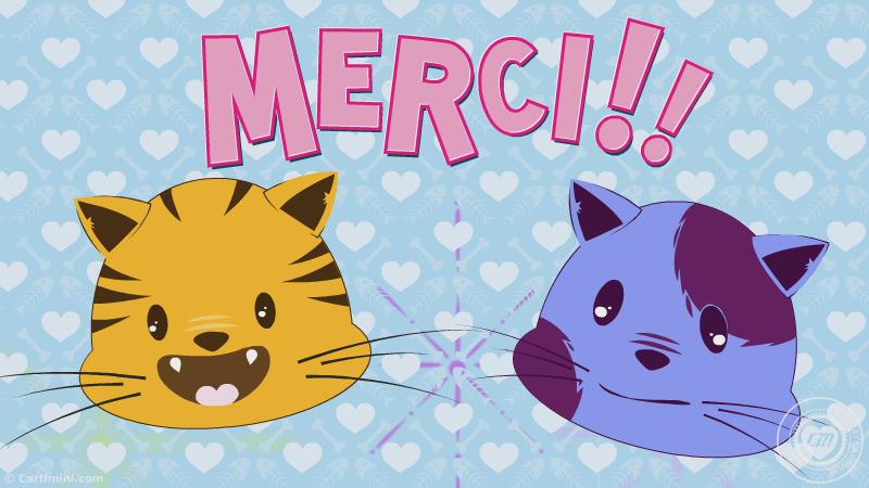 La carte remerciement carte merci chat fait plaisir for Ou avoir des cartons gratuits
